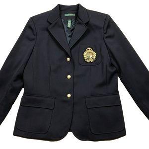Ralph Lauren Womens 12 Blue Wool Crest Crown Blaze